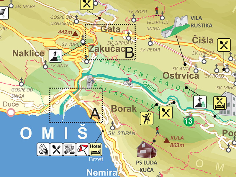 Omis Tourist Map Billboards For Settlements In Omis Riviera