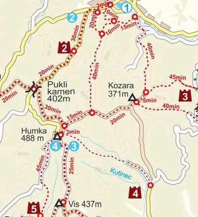 Detalj karte – središnji dio Moslavačke gore