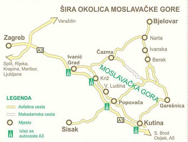 Detalj karte - šira okolica Moslavačke gore