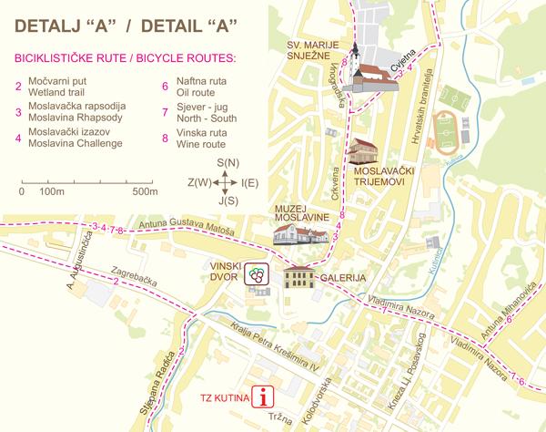 Detalj centra Kutina sa biciklističkim stazama